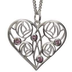 "170 Cairn® Sterling silver Charles Rennie Mackintosh Necklace ""Homeland"" Set with 4 amethysts"