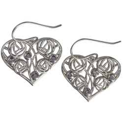 "171 Cairn® Sterling silver Charles Rennie Mackintosh Earrings ""Homeland"" Set with 8 amethysts"