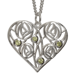 "174 Cairn® Sterling silver Charles Rennie Mackintosh Necklace ""Homeland"" Set with 4 peridots"