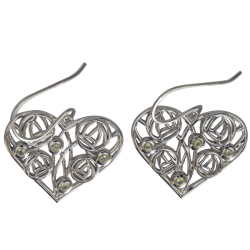 "175 Cairn® Sterling silver Charles Rennie Mackintosh Earrings ""Homeland"" Set with 8 peridots"