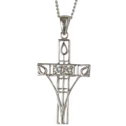 "204 Cairn® Sterling silver Charles Rennie Mackintosh Cross Necklace ""Queen's Cross"" Set with aquamarines."
