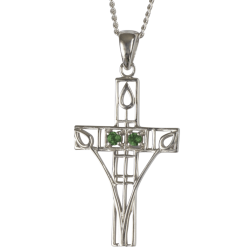 "205 Cairn® Sterling silver Charles Rennie Mackintosh Cross Necklace ""Queen's Cross"" Set with emeralds."