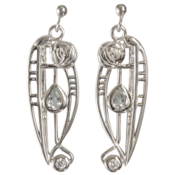 "302 Cairn® Sterling silver Charles Rennie Mackintosh Earrings ""Catherine"" Aquamarine & CZ set."