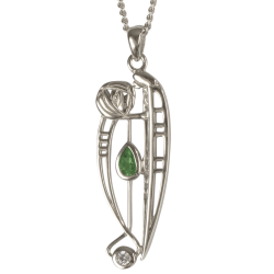 "306 Cairn® Sterling silver Charles Rennie Mackintosh Necklace ""Catherine"" Emerald & CZ set."