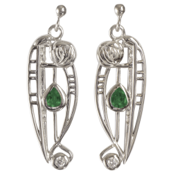 "307 Cairn® Sterling silver Charles Rennie Mackintosh Earrings ""Catherine"" Emerald & CZ set."