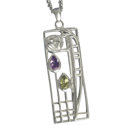 "310 Cairn® Sterling silver Charles Rennie Mackintosh Necklace ""Lover"" Amethyst & Peridot set."