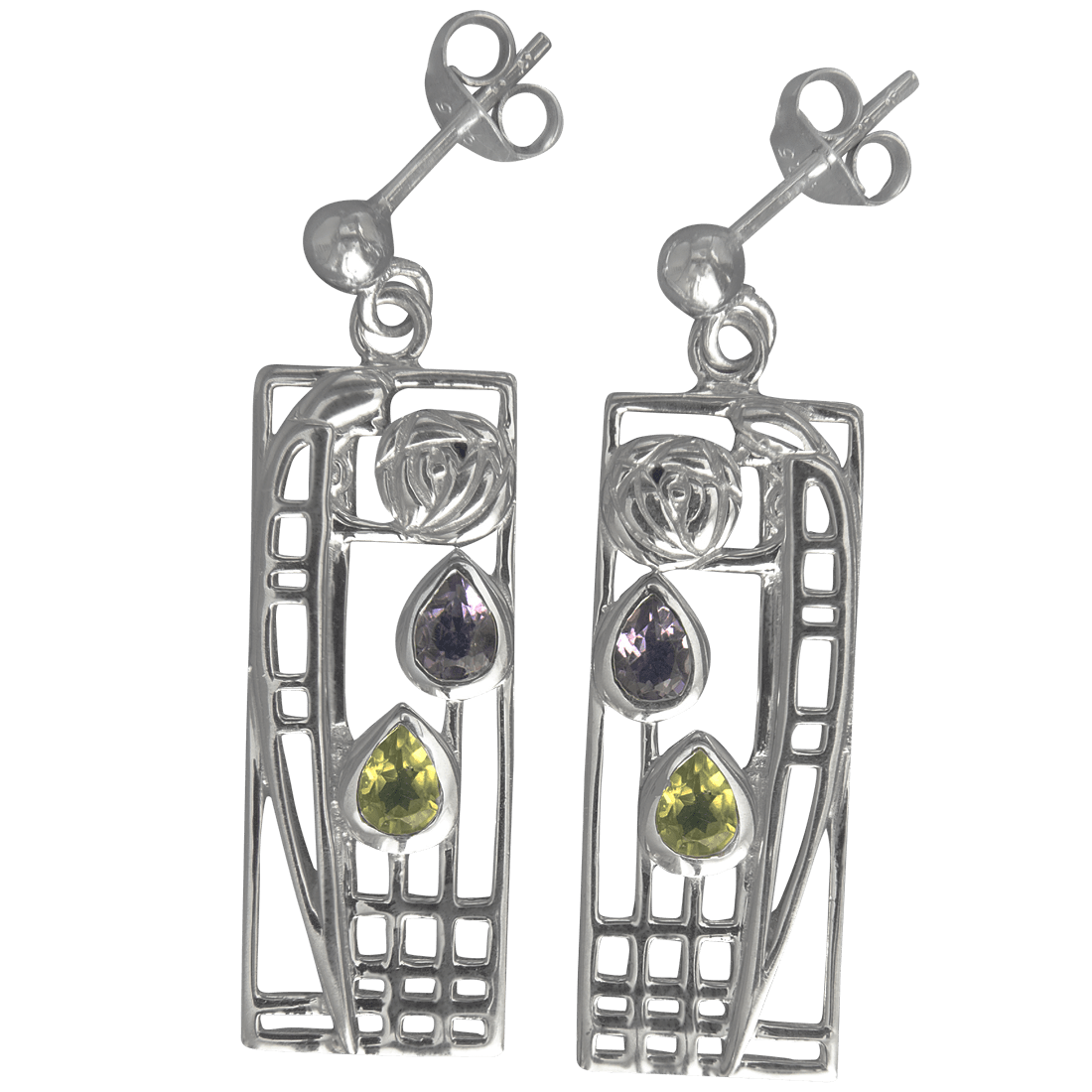"311 Cairn® Sterling silver Charles Rennie Mackintosh Earrings ""Lover"" Amethyst & Peridot set."