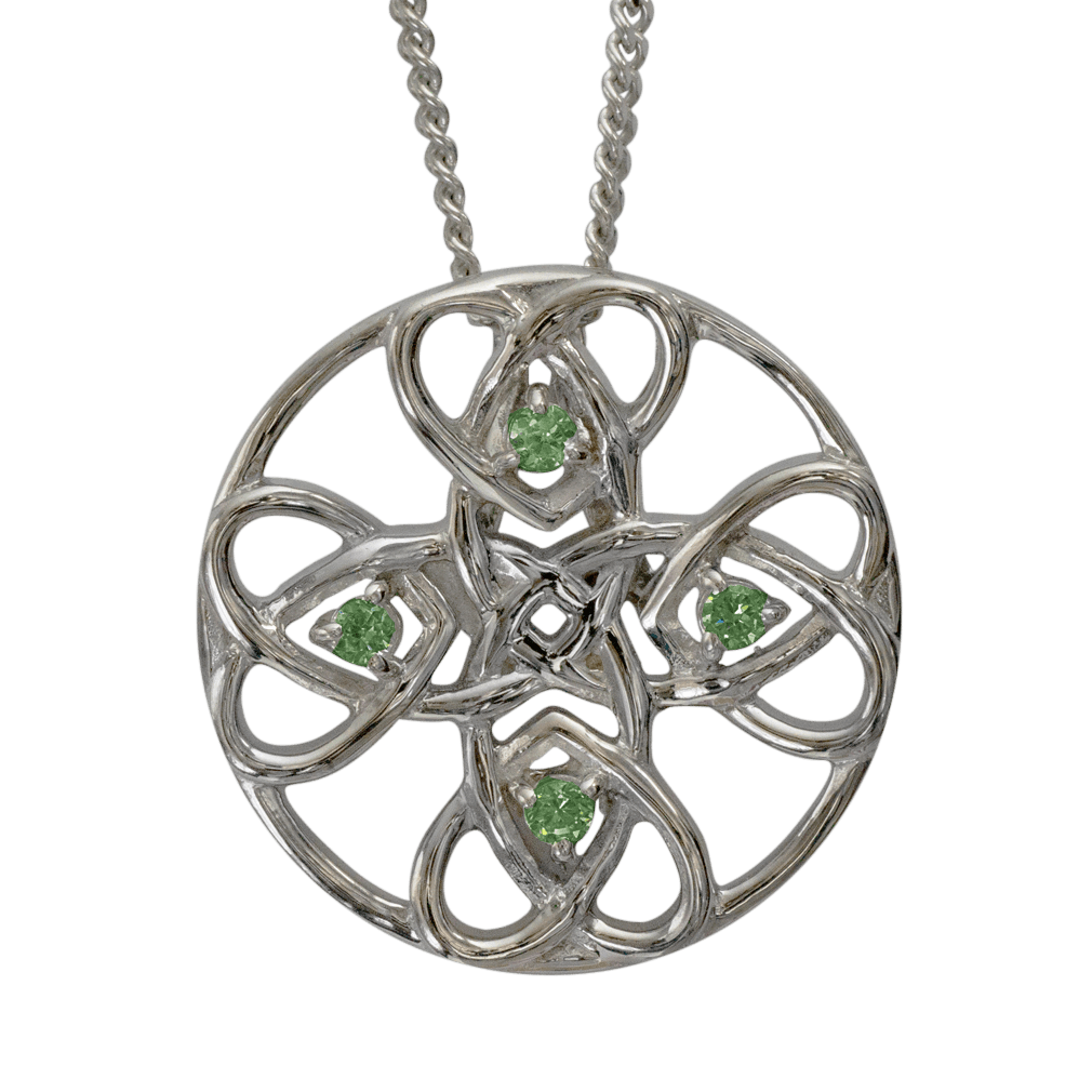 """3134 Cairn® Celtic Sterling silver necklace """"Alvie"""" Set with peridots"""