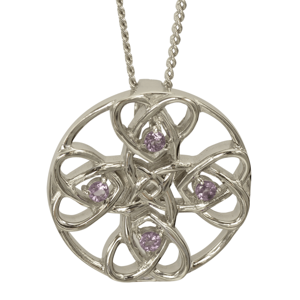 """3135 Cairn® Celtic Sterling silver necklace """"Alvie"""" Set with amethysts"""