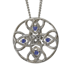 "3136 Cairn® Celtic Sterling silver necklace ""Alvie"" Set with sapphires"