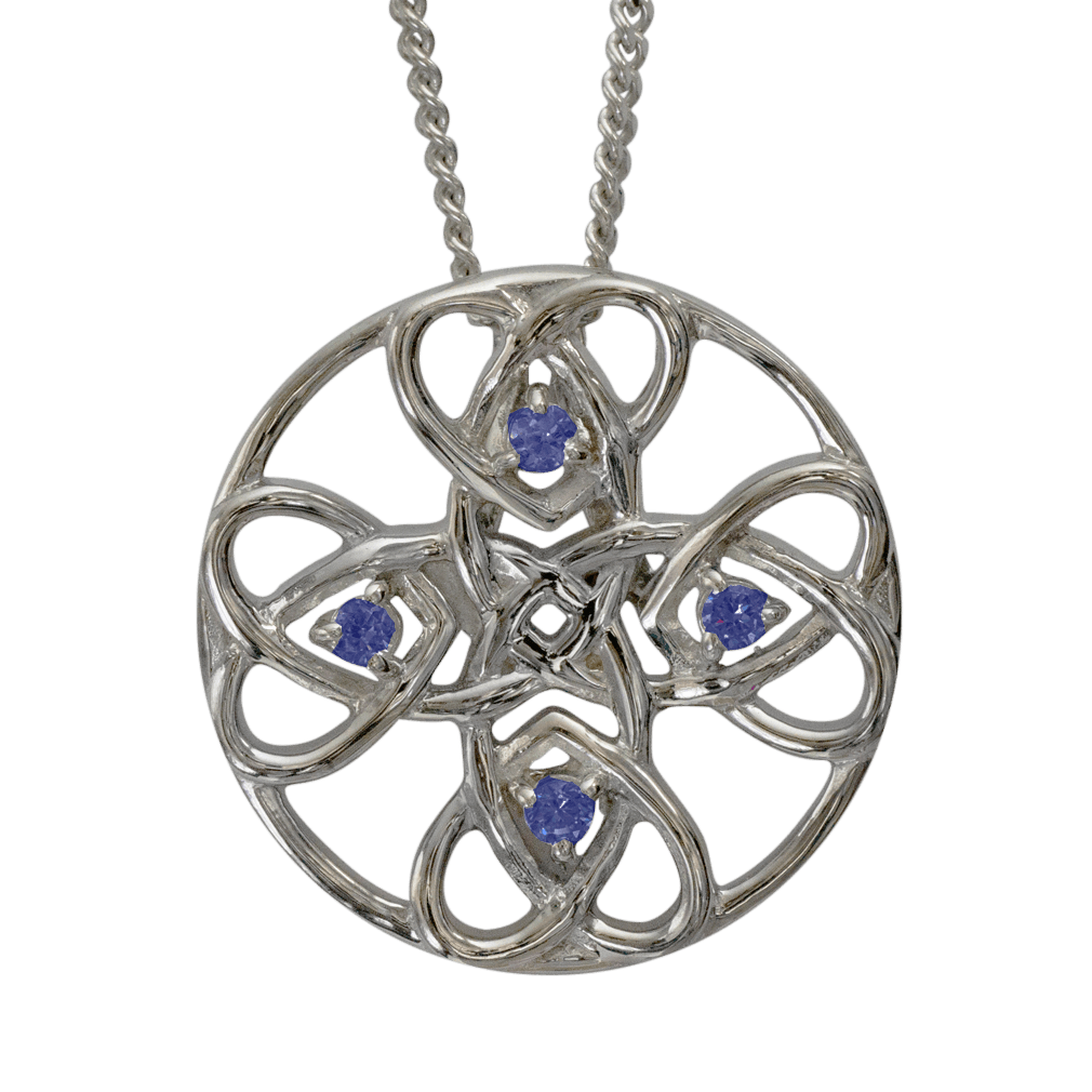 """3136 Cairn® Celtic Sterling silver necklace """"Alvie"""" Set with sapphires"""