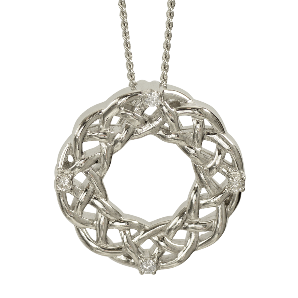"""3141 Cairn® Celtic Sterling silver necklace """"Strone"""" Set with cubic zirconias"""