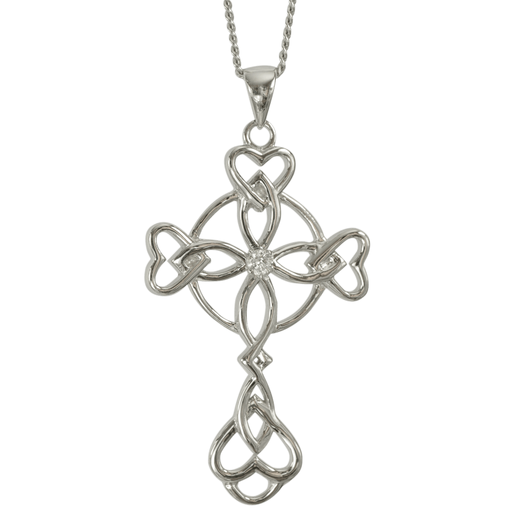 "3151 Cairn® Celtic Sterling silver cross necklace ""Islay"" Set with a cubic zirconia"