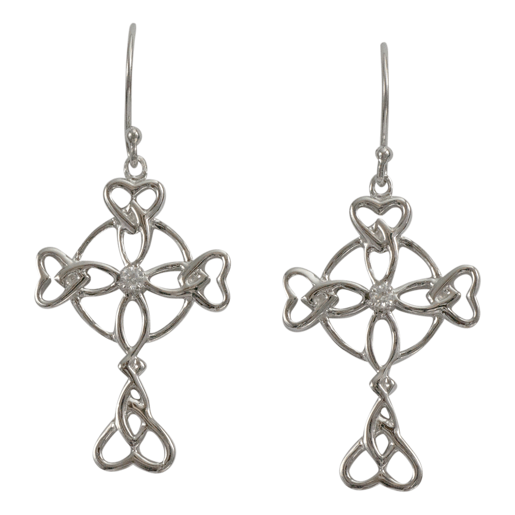 "3152 Cairn® Celtic Sterling silver cross earrings ""Islay"" Set with small cubic zirconias"