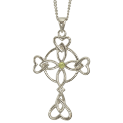 "3153 Cairn® Celtic Sterling silver cross necklace ""Islay"" Set with a peridot"