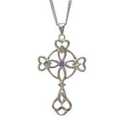 "3155 Cairn® Celtic Sterling silver cross necklace ""Islay"" Set with an amethyst"