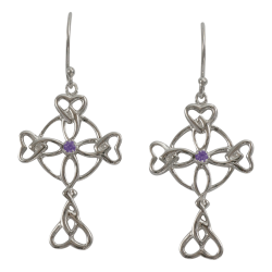 "3156 Cairn® Celtic Sterling silver cross earrings ""Islay"" Set with small amethysts"