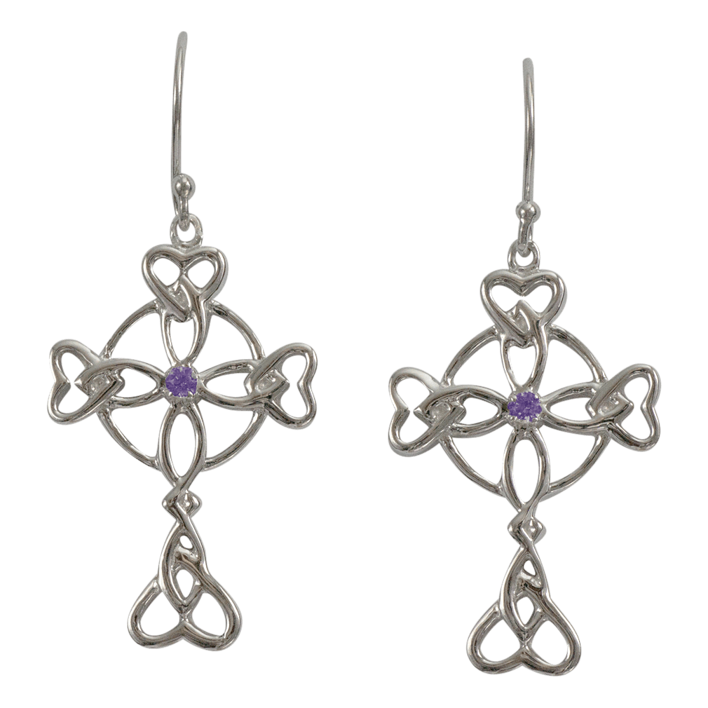 """3156 Cairn® Celtic Sterling silver cross earrings """"Islay"""" Set with small amethysts"""