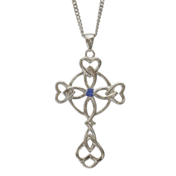 "3157 Cairn® Celtic Sterling silver cross necklace ""Islay"" Set with a sapphire"