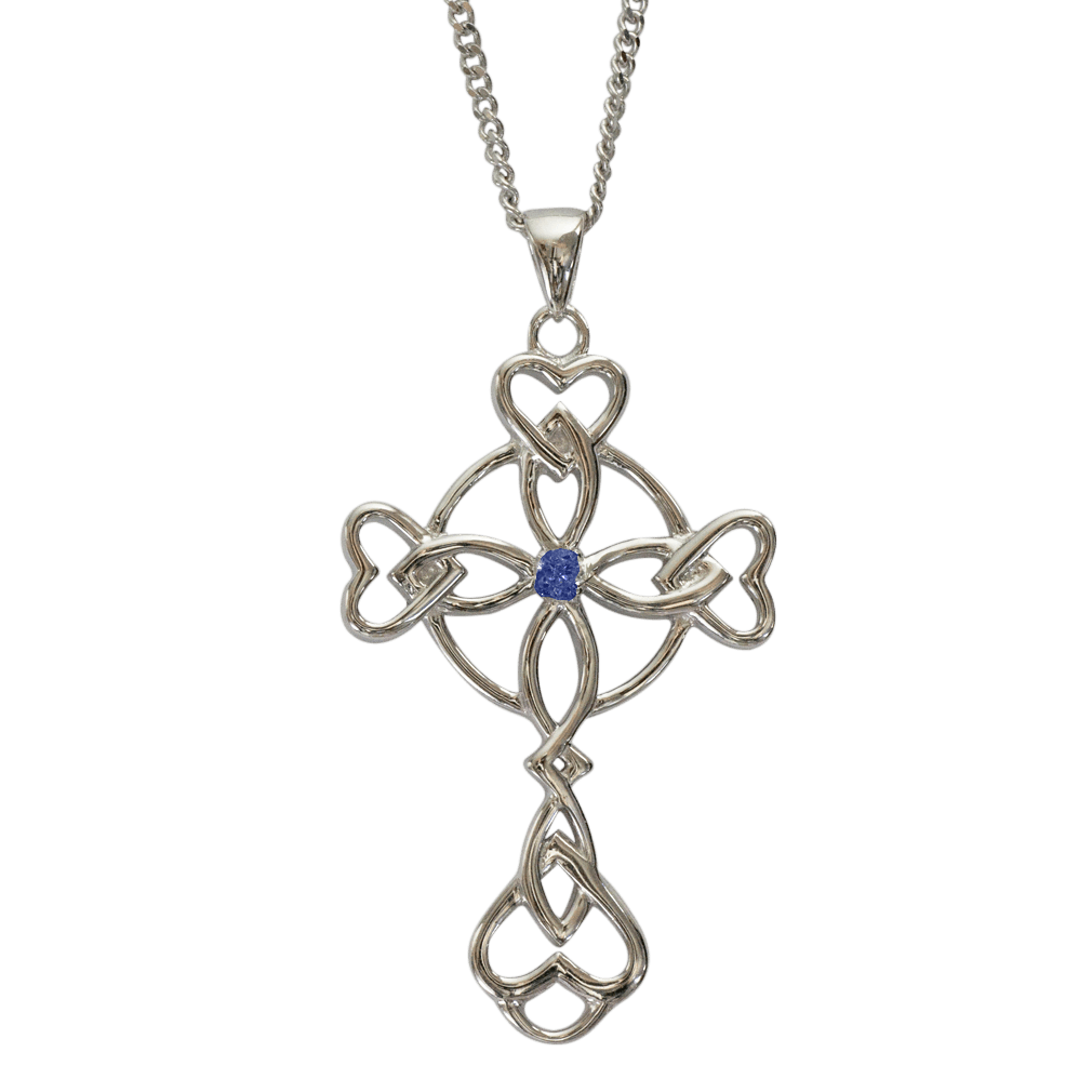 """3157 Cairn® Celtic Sterling silver cross necklace """"Islay"""" Set with a sapphire"""