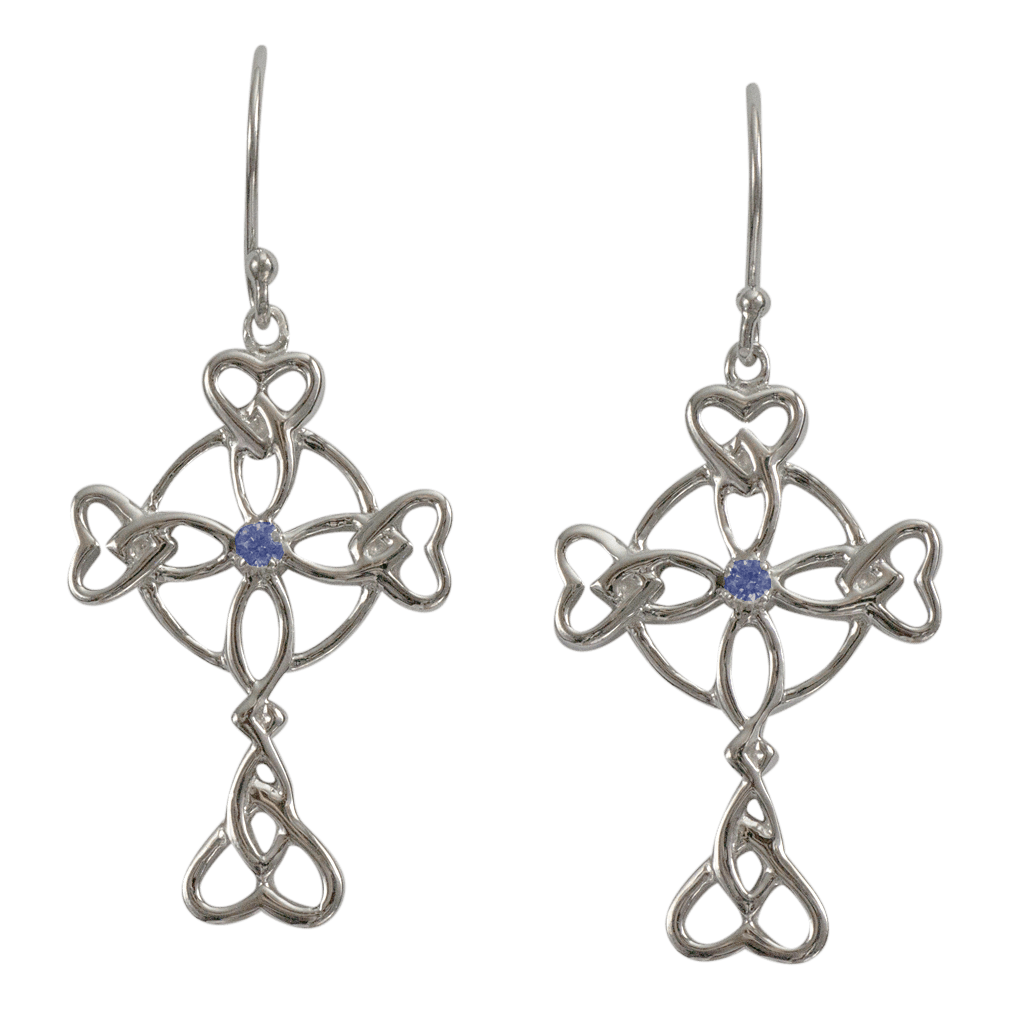 """3158 Cairn® Celtic Sterling silver cross earrings """"Islay"""" Set with small sapphires"""