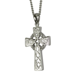 "3161 Cairn® Celtic Sterling silver cross necklace ""Iona"" Set with 4 small cubic zirconias"