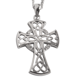 "3171 Cairn® Celtic Sterling silver cross necklace ""Heart"" Set with 4 small cubic zirconias"