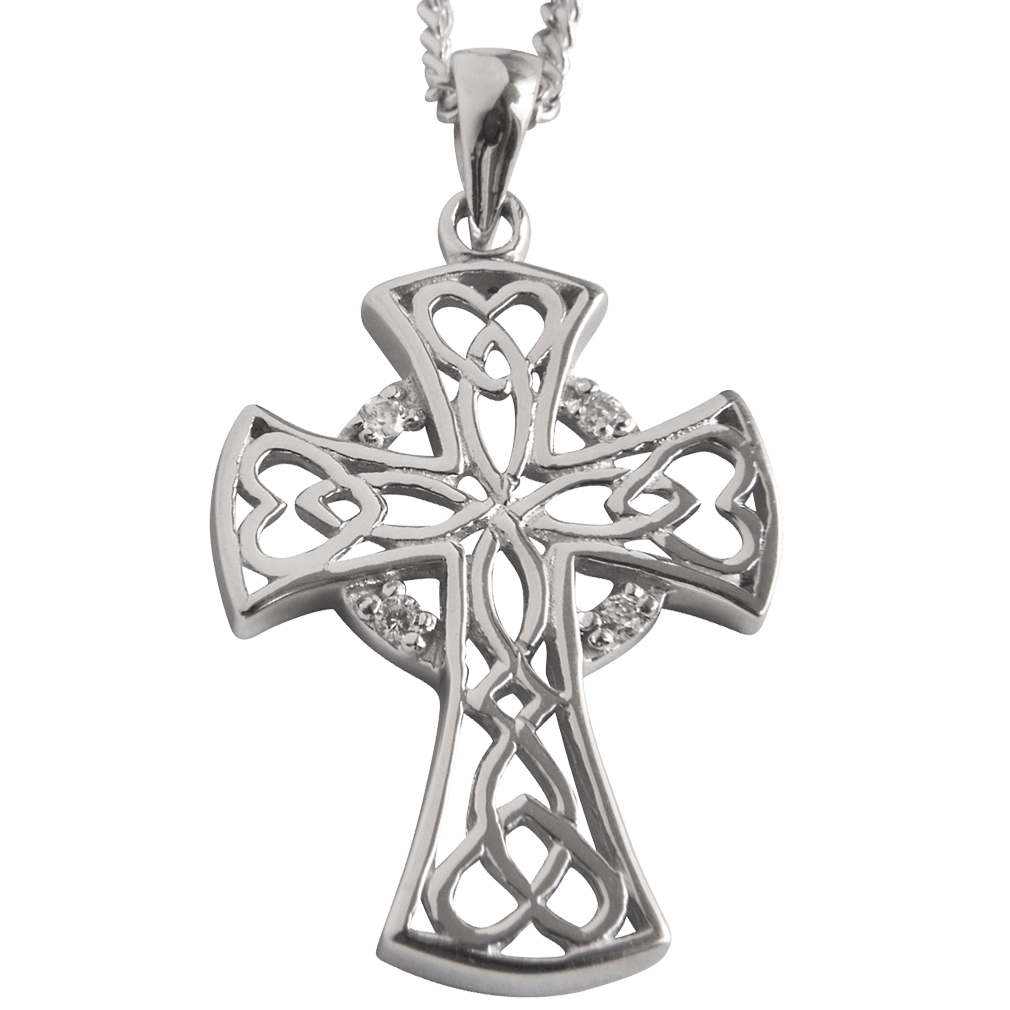 """3171 Cairn® Celtic Sterling silver cross necklace """"Heart"""" Set with 4 small cubic zirconias"""