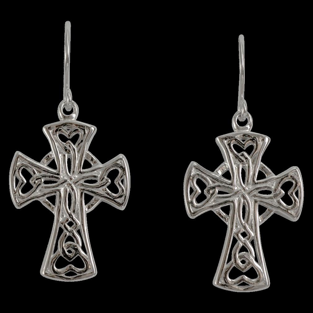 "3172 Cairn® Celtic Sterling silver cross earrings ""Heart"""