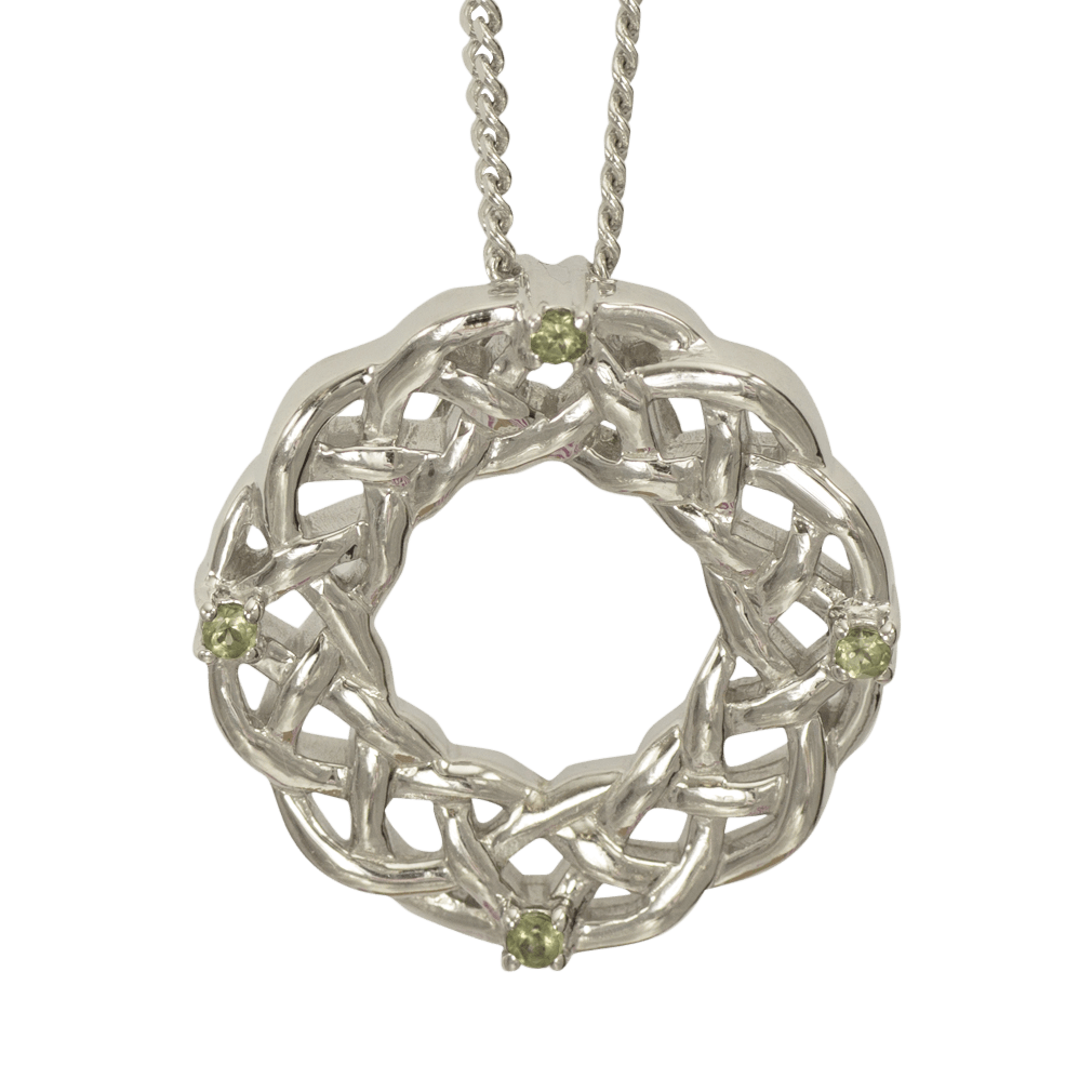 """3201 Cairn® Celtic Sterling silver necklace """"Strone"""" Set with peridot"""