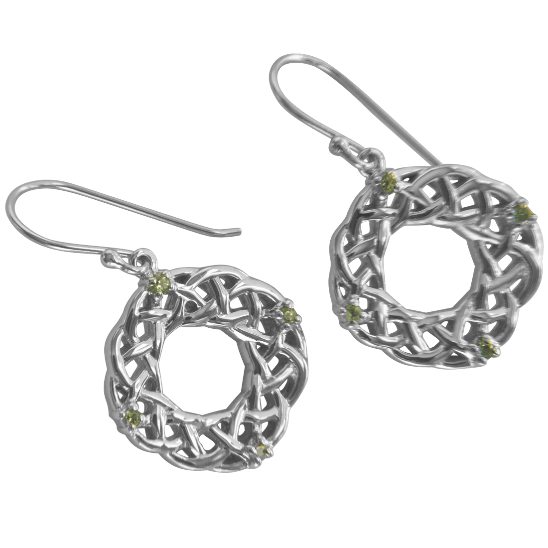 """3202 Cairn® Celtic Sterling silver earrings """"Strone"""" Set with 4 small peridots"""