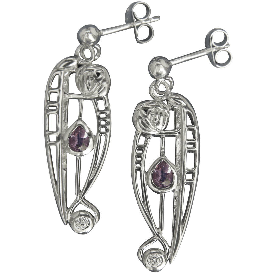 "321 Cairn® Sterling silver Charles Rennie Mackintosh Earrings ""Catherine"" Amethyst & CZ set."