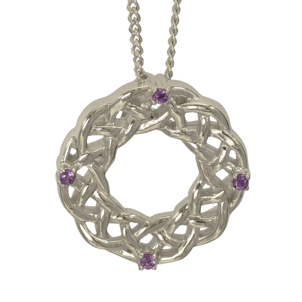 """3211 Cairn® Celtic Sterling silver necklace """"Strone"""" Set with amethyst"""