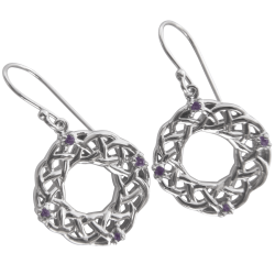 "3142 Cairn® Celtic Sterling silver earrings ""Strone"" Set with 4 small cubic zirconias"