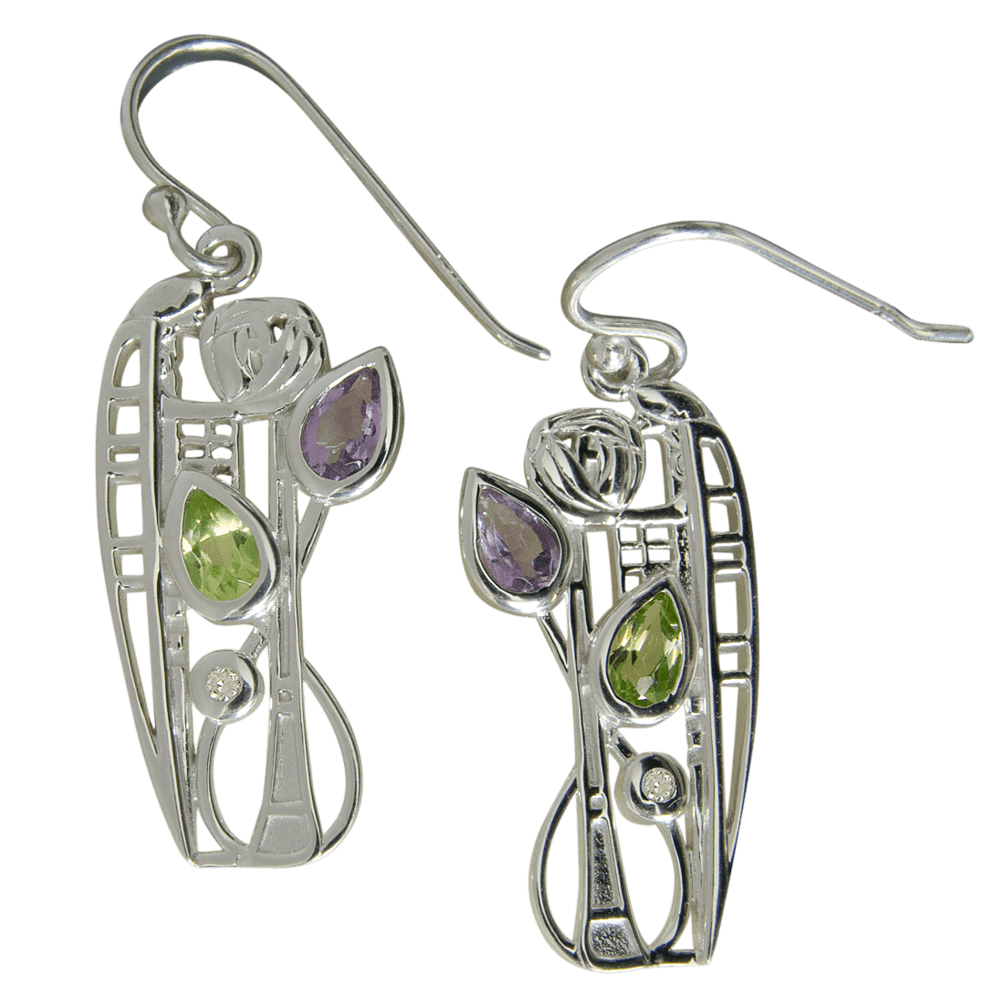 "347 Cairn® Sterling silver Charles Rennie Mackintosh Earrings ""Nairn"" Amethyst, peridot & diamond set."