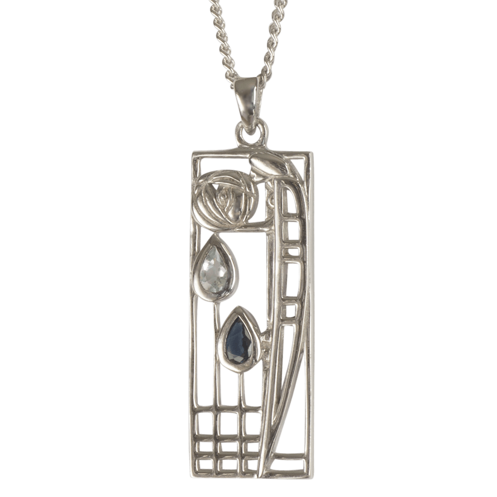 "355 Cairn® Sterling silver Charles Rennie Mackintosh Necklace ""Lover"" Aquamarine & sapphire set."