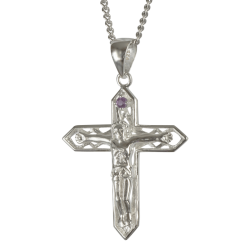 3611 Cairn® Sterling silver crucifix Set with a small amethyst