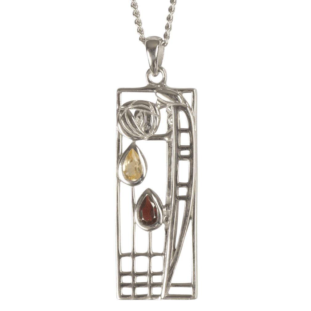 "366 Cairn® Sterling silver Charles Rennie Mackintosh Necklace ""Lover"" Citrine & garnet set."