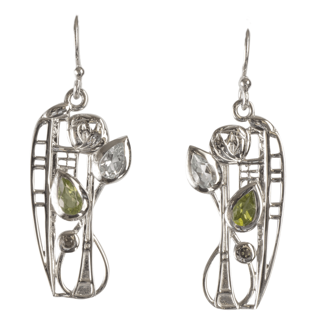 "376 Cairn® Sterling silver Charles Rennie Mackintosh Earrings ""Nairn"" Set with aquamarines, peridots & smoky quartz."