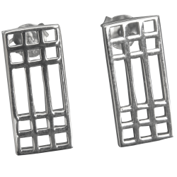 "504 Cairn® Sterling silver Charles Rennie Mackintosh earrings ""Mackintosh Lattice"""
