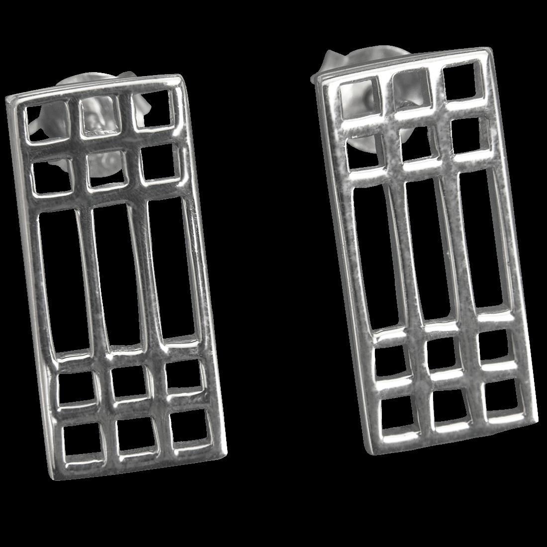 "504 Cairn® Sterling silver Charles Rennie Mackintosh earrings ""Mackintosh Lattice"""