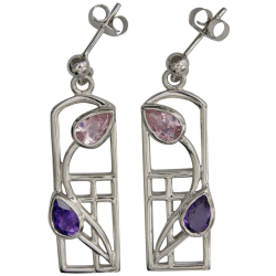 "594 Cairn® Sterling silver Charles Rennie Mackintosh earrings ""Petals"""