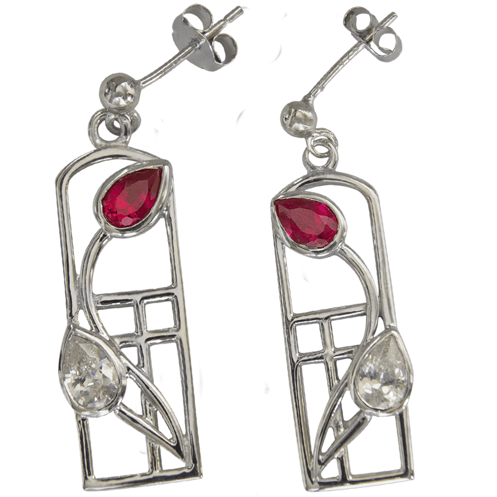"581 Cairn® Sterling silver Charles Rennie Mackintosh earrings ""Ruby"""