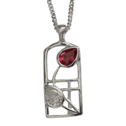 "584 Cairn® Sterling silver Charles Rennie Mackintosh necklace ""Ruby"""