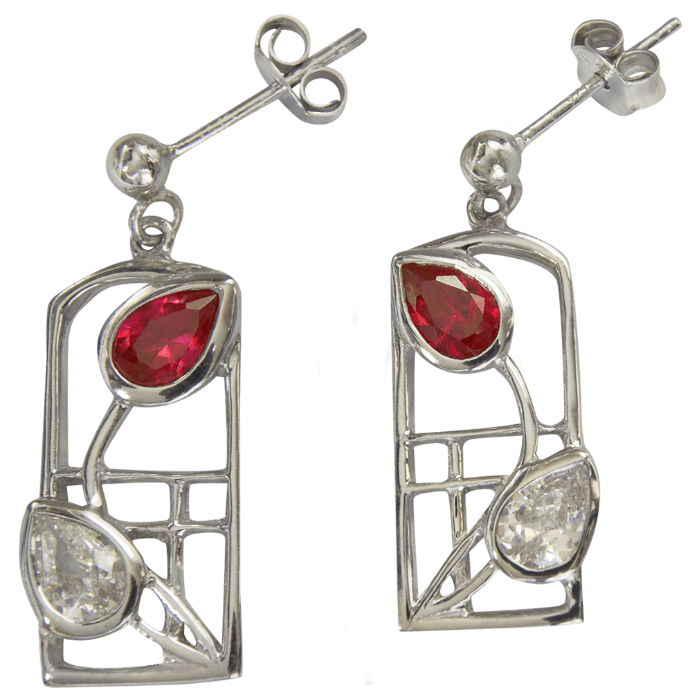 "585 Cairn® Sterling silver Charles Rennie Mackintosh earrings ""Ruby"""