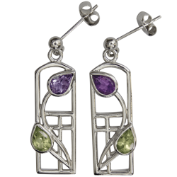 "592 Cairn® Sterling silver Charles Rennie Mackintosh earrings ""Thistle"""