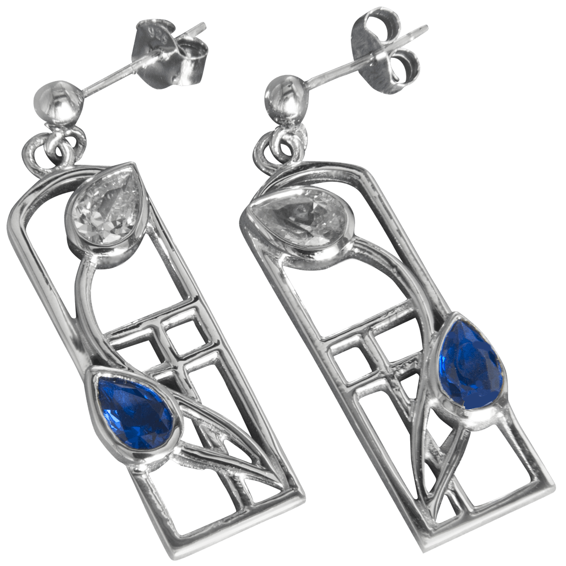 "596 Cairn® Sterling silver Charles Rennie Mackintosh earrings ""Saltire"""