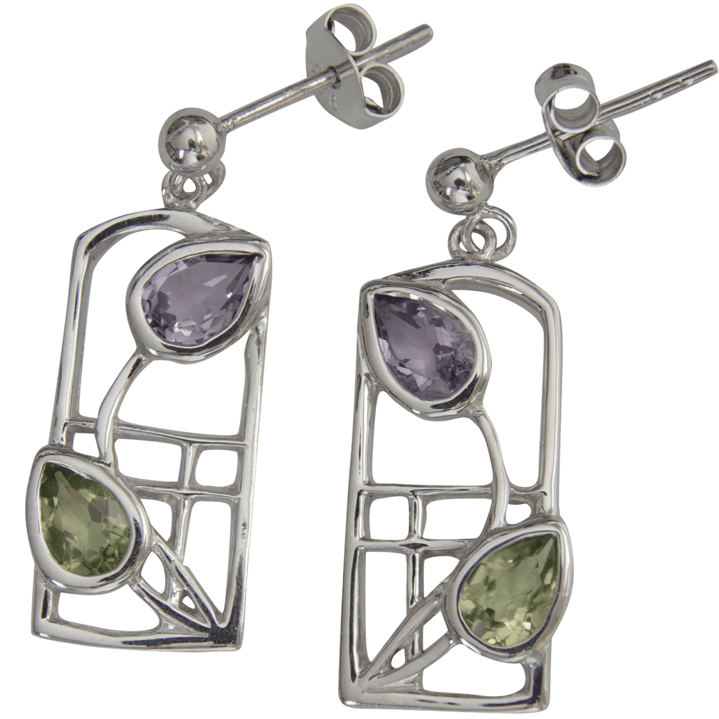 """599 Cairn® Sterling silver Charles Rennie Mackintosh earrings """"Thistle"""""""