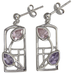"603 Cairn® Sterling silver Charles Rennie Mackintosh earrings ""Petals"""
