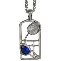 "604 Cairn® Sterling silver Charles Rennie Mackintosh necklace ""Saltire"""